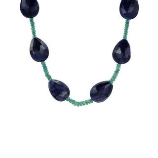 Necklace with 265ct TW Emeralds and Sapphires in .925 Sterling Silver