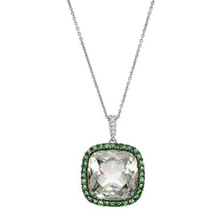 Necklace with 12.15ct TW Genuine Amethyst, Diamonds and Tsavorite Garnets in 18K White Gold