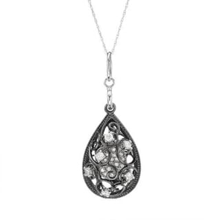 14k Black and White Gold Teardrop Necklace with Diamonds