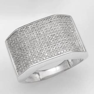 Men's Ring with 1.10ct TW Genuine Diamonds in White Gold