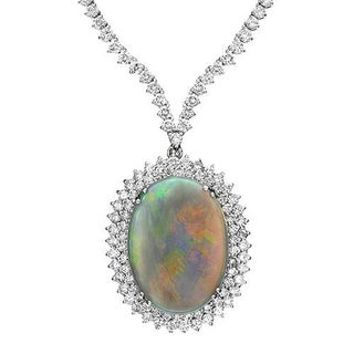 14K White Gold 32.11ct TW Diamonds and Opal Necklace