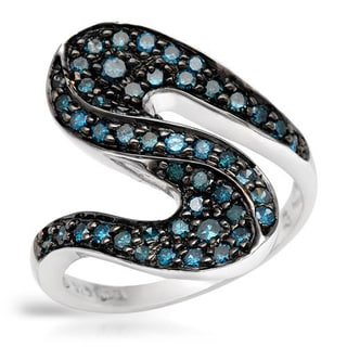 Ring with 0 3/4ct TW Fancy Intense Blue enhanced Diamonds in .925 Sterling Silver