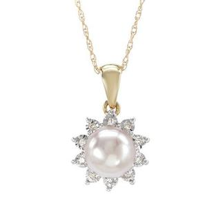 Necklace with Diamonds/ 65mmFreshwater Pearl in Two-tone Gold