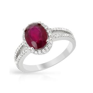 Ring with 3.28ct TW Diamonds and Composite Ruby in 14K White Gold
