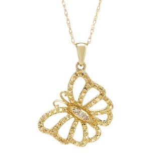 Yellow Gold Butterfly Outline Necklace with Diamonds