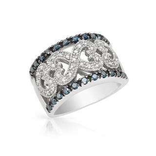 Ring with 0.50ct TW Fancy Intense Blue enhanced Diamonds 925 Sterling Silver