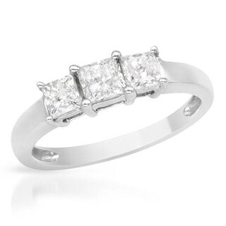 Three-stone Ring with 1.00ct TW Genuine Princess-cut Diamonds in White Gold