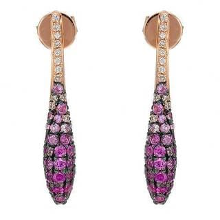 Vida Earrings with 0.8ct TW Diamonds and Sapphires in 14K Two-tone Gold