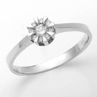 14k White Gold Diamodn Solitaire Plus Engagement Ring