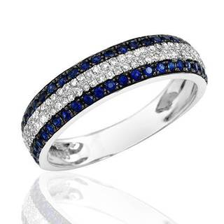 Vida Ring with 0.65ct TW Diamonds and Sapphires in 14K White Gold