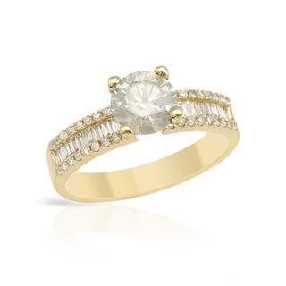 18k Yellow Gold 1.66ct TDW Diamond Solitaire Plus Engagment Ring