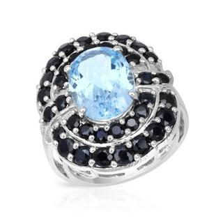 Sterling Silver Sapphire and Topaz Cocktail Ring