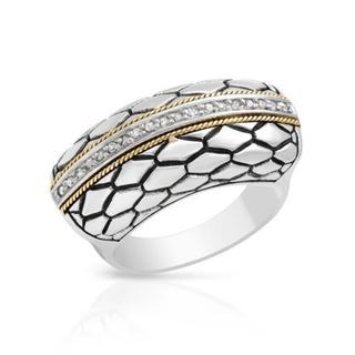 Ring with Diamonds 18K/.925 Sterling Silver with Gold Inlay