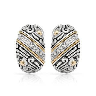 Earrings with Diamonds 18K/.925 Sterling Silver with Gold Inlay