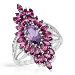 Ring with 3.34ct TW Amethyst and Rhodolite Garnets in 925 Sterling Silver