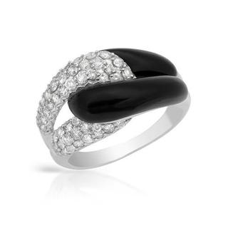 Ring with 0.72ct TW Diamonds and Onyxes in 14K White Gold