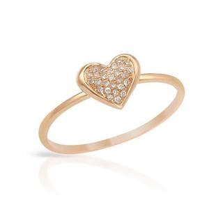 Heart Ring with Diamonds 14K Rose Gold