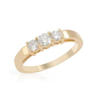 Yellow Gold 0.53ct TDW Three-stone Diamond Engagement Ring