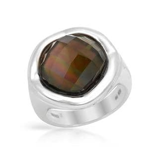 FPJ Ring with 9.55ct TW Genuine Mother of pearl and Quartz in 925 Sterling Silver