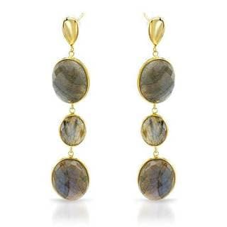 Earrings with 37.40ct TW Genuine Labradorites 14K/925 Gold-plated Silver