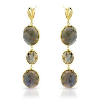 Earrings with 37.4ct TW Labradorites 14K/925 Gold-plated Silver