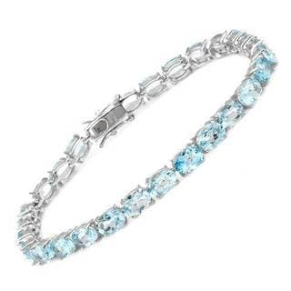 Tennis Bracelet with 25.20ct TW Genuine Topazes Crafted in 925 Sterling Silver