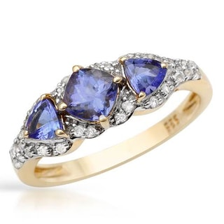 Three-stone Plus Ring with 1.16ct TW Tanzanites and Topazes in 14K/925 Gold-plated Silver- C