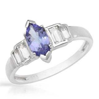 Ring with 1.9ct TW Tanzanite and Topazes in 925 Sterling Silver
