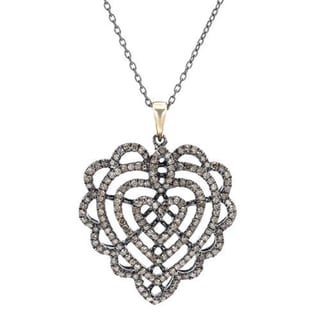 .925 Sterling Silver Layered Heart Necklace with 1.29ct TW Diamonds