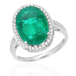 Ring with 6.86ct TW Diamonds and Lab Grown Emerald in 18K White Gold