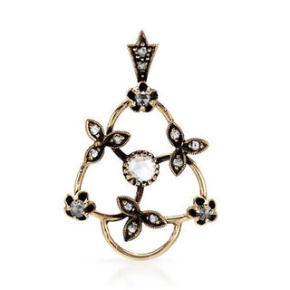 14k Yellow Gold Floral Triangle Pendant with Diamonds