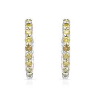 Hoops Earrings with 0.51ct TW Fancy Intense Yellow enhanced Diamonds of White Gold