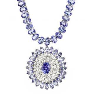 Necklace with 50.73ct TW Diamonds, Tanzanites in 14K White Gold