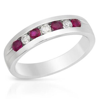Foreli Men's Ring with 1.2ct TW Diamonds and Rubies in 14K White Gold