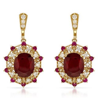 Earrings with 17 1/2ct TW Diamonds, Rubies Crafted in 14K Yellow Gold