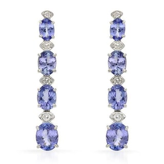 Earrings with 10.42ct TW Diamonds and Tanzanites in 14K White Gold