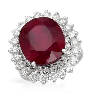 Cocktail Ring with 15.80ct TW Diamonds and Composite Ruby in 14K White Gold