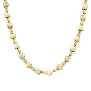14K Yellow Gold 2 1/4ct TDW Diamonds and Opal Necklace