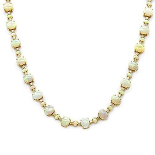 14K Yellow Gold 29.61ct TW Diamonds and Opals Necklace