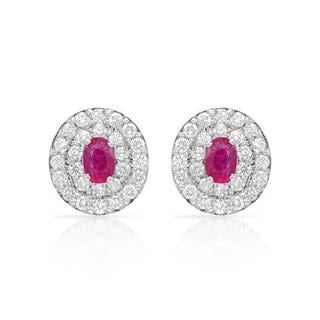 Earrings with 2.61ct TW Diamonds and Rubies Crafted in 14K White Gold