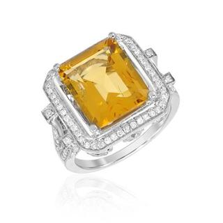 Cocktail Ring with 6.19ct TW Citrine and Diamonds 14K White Gold