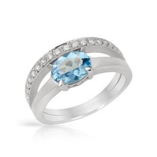 Ring with 1.12ct TW Diamonds and Topaz 900 Platinum