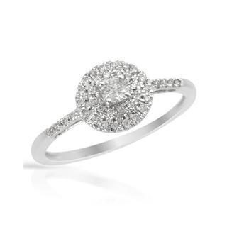 10k White Gold 1/4ct TDW Halo Diamond Ring