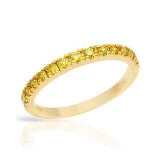 Channel Ring with Genuine Diamonds 14K Yellow Gold