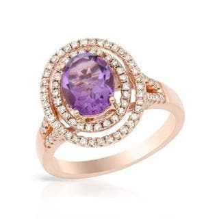 Ring with 2.27ct TW Amethyst and Diamonds of 14K Rose Gold
