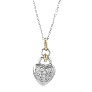 14K/.925 Sterling Silver with Gold Inlay Heart Necklace with Diamonds