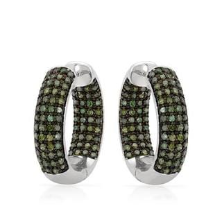 925 Sterling Silver 1 3/4ct TDW Green Enhanced Diamond Hoop Earrings (I1 - I2)