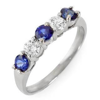 Foreli Ring with 1ct TW Diamonds and Sapphires in 14K White Gold