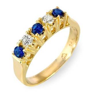 Foreli Ring with 0.85ct TW Diamonds and Sapphires in 14K Yellow Gold