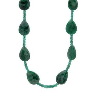 240ct TW Emerald Beaded Necklace
